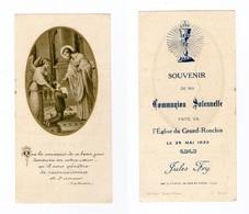 Ronchin, Le Grand-Ronchin, Communion Solennelle De Jules Fry, 1933 - Images Religieuses