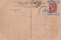 """FRANCE : 10 Cts .TYPE SEMEUSE LIGNEE . SUR PORTE TIMBRE BLEU . """" MANCHON HELLA """" . 1907 . - Marcophilie (Lettres)"""