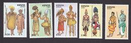 Kenya, Scott #505-509, Mint Hinged, Ceremonial Costumes, Issued 1989 - Kenya (1963-...)