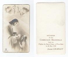 Villeneuve-d'Ascq, Communion Solennelle De Jeanne Charlet, 1938, église Du Sacré-Coeur De Flers-Sart - Images Religieuses