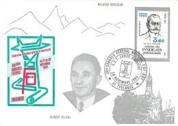 VERITABLE AUTOGRAPHE SUR CARTE PROMOTIONNELLE - SYNDICALISTE ANDRE BERGERON - SUR CARTE CONGRES DE TOULOUSE 1984 - Autographes