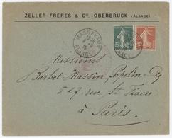 Massevaux 8.9.1915 Alsace Entête: Zeller Frères & Cie Oberbruck Cachet Rouge Ministère De La Culture - Elzas-Lotharingen