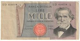 1000 Lire Verdi 1969 - [ 2] 1946-… : République