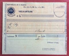 S.MARINO VAGLIA CARTOLINA DA OLTRE L.10 FINOI A L. 25  NUOVA - Saint-Marin