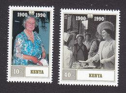 Kenya, Scott #527-528, Mint Hinged, Queen Mother, 90th Birthday, Issued 1990 - Kenya (1963-...)