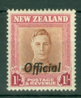 New Zealand: 1947/51   KGVI 'Official' OVPT   SG O157b   1/-  [Wmk Upright  Plate 2]    MH - Service
