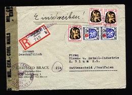 A5403) Franz Zone R-Brief Biberach 10.11.46 Not-R-Zettel US-Zensur Stempel Rs. - Französische Zone