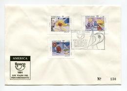 HONDURAS 1991 FDC COVER UPAEP AMERICA'91 COLUMBUS Mi#1131-33 - Honduras