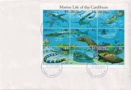 Grenada Grenadines Marine Life Sheetlet On FDC - Maritiem Leven