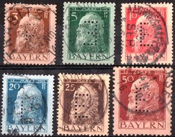 GERMANIA, GERMANY, ANTICHI STATI, BAVIERA, BAYERN, COMMEMORATIVO, PRINCIPE LUITPOLD, 1911, USATI Scott 77-81,84 - Bavaria