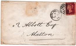 Lettre 1871 Angleterre 1 Penny Queen Victoria Darlington Ord & Maddison Malton - 1840-1901 (Victoria)