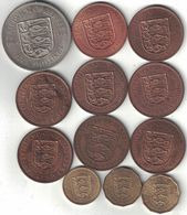 Jersey Collection Of 12 Coins 1945-1966 All Listed & Different - Jersey