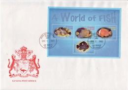 Guyana Marine Life Sheetlet On FDC - Maritiem Leven