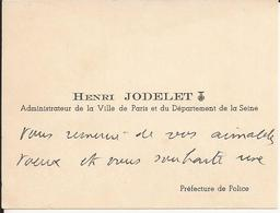Carte De Visite - Henri JODELET - Administrateur De Paris Et Seine - Souhaits D'Heureuse Nouvelle Année - A Voir ! - Cartoncini Da Visita