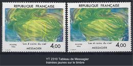 """FR Variétés YT 2310 """" Tableau Messagier """" 1984 Trainées Jaunes - Errors & Oddities"""