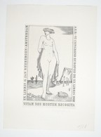 Ex-libris Moderne XXème Illustré -  Allemagne - Pays-Bas - Femme Nue - G. JAN RHEBERGEN - Bookplates