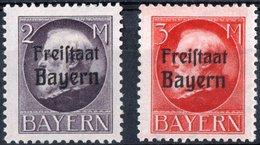 GERMANIA, GERMANY, ANTICHI STATI, BAVIERA, BAYERN, RE LUDWIG III, 1919, FRANCOBOLLI NUOVI (MLH*) Scott 207,208 - Bavaria