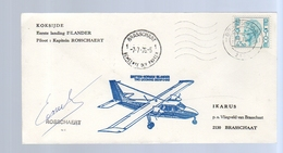 KOKSIJDER 1st Landing ISLANDER, SIGNED BY PILOT Rosschaert LIMITED QUANTITY ISSUED( 337) - Storia Postale