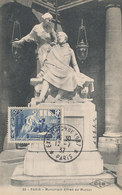 D33231 CARTE MAXIMUM CARD 1937 FRANCE - ALFRED DE MUSSET MONUMENT PARIS - POET DRAMATIST CP ORIGINAL - Writers