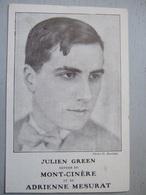 """JULIEN GREEN / MONT-CINERE / ADRIENNE MESURAT / CARTE PUBLICITAIRE """"LIBRAIRIE PLON"""" - Ecrivains"""