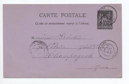 1883 - ENTIER TYPE SAGE De POLIGNY (JURA) - Marcophilie (Lettres)