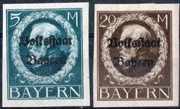 GERMANIA, GERMANY, ANTICHI STATI, BAVIERA, BAYERN, RE LUDWIG III, 1919, FRANCOBOLLI NUOVI (MLH*) Scott 228,230 - Bavaria