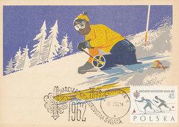 D33237 CARTE MAXIMUM CARD 1962 POLAND - SKIING ZAKOPANE SPEC. POSTMARK CP ORIGINAL - Skiing
