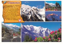 74 CHAMONIX / MULTIVUES / CAPITALE MONDIALE DE L'ALPINISME / PETIT TEXTE SUR PARCHEMIN - Chamonix-Mont-Blanc