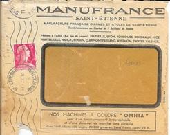 LOIRE 42 -  ST ETIENNE  MANUFACTURE    - FLAMME N° ST ET 331 K  - 1957  -  S/ ENVELOPPE . MANUFRANCE - Maschinenstempel (Werbestempel)