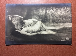 Antique Tsarist Russia Nu Postcard Pre 1917 Artist Signed THOMAS. Beautiful Nude Woman LEDA (bare Breasts) White Swan - Vintage Women < 1920