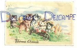 Bonne Année. Brouette De Chats. Signée Luce André. 1948. Editions Superluxe - Paris - Illustrateurs & Photographes