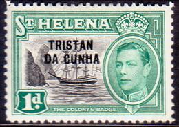 TRISTAN DA CUNHA 1952 SG #2 1d MH St.Helena Stamp Optd - Tristan Da Cunha