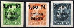 BAVIERA, BAYERN, GERMANIA, GERMANY, ANTICHI STATI, RE LUDWIG III, 1920, FRANCOBOLLI NUOVI (MLH*) Scott 234-236 - Bavaria