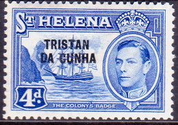 TRISTAN DA CUNHA 1952 SG #6 4d MLH St.Helena Stamp Optd - Tristan Da Cunha