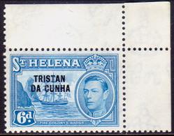 TRISTAN DA CUNHA 1952 SG #7 6d MNH St.Helena Stamp Optd Corner Margin! - Tristan Da Cunha