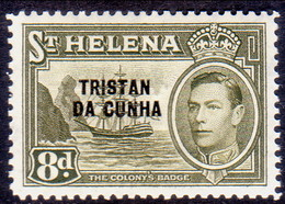 TRISTAN DA CUNHA 1952 SG #8 8d MNH St.Helena Stamp Optd - Tristan Da Cunha