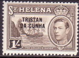 TRISTAN DA CUNHA 1952 SG #9 1sh MH St.Helena Stamp Optd - Tristan Da Cunha