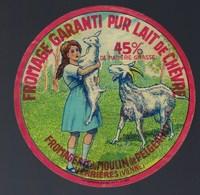 """Ancienne Etiquette Fromage Chèvre  Fromagerie Du Moulin De Pelgeault Verrières Vienne """"enfant Fillette Sevré"""" - Cheese"""