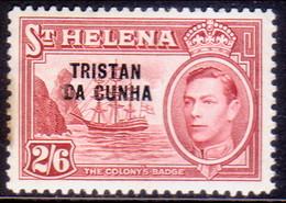 TRISTAN DA CUNHA 1952 SG #10 2sh6d MLH St.Helena Stamp Optd Light Toning At Left - Tristan Da Cunha