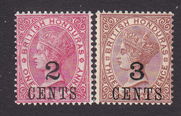British Honduras, Scott #28-29, Mint Hinged, Victoria Surcharged, Issued 1888 - British Honduras (...-1970)