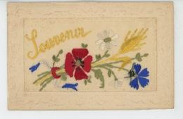 """FLEURS - Jolie Carte Fantaisie Brodée Fleurs Tricolores Et Blé """"Souvenir """" - Brodées"""