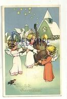 Vrolyk Kerstfeest. Anges Musiciens Dans La Neige. Violon, Violoncelle, Trompette. Eglise. 1946. Coloprint Elite 1268 - Unclassified