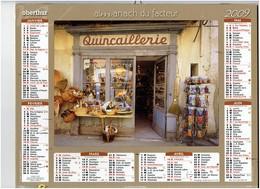 Grand Calendrier 2009 Vitrine Magasin PAULETTE Raquette Lavande Pétanque Lampe à Pétrole Arrosoir PEUGEOT Marionnette - Calendars
