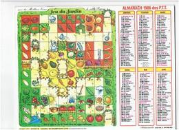 Grand Calendrier 1986 Jeu De L'oie DU JARDIN Escargot Asperge Artichaud Compost Noix Champignon Coccinelle Raisin - Calendriers