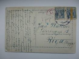 NORTH POLAND  TO LATVIA , CENSORED  , OLD POSTCARD , 0 - 1919-1939 Republik