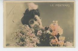 FEMMES - FRAU - LADY - Jolie Carte Fantaisie Portrait Femme - LES SAISONS - LE PRINTEMPS - Donne