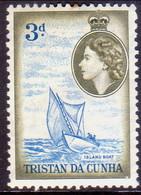 TRISTAN DA CUNHA 1954 SG #19 3d MH Tiny Toned Spot At Top - Tristan Da Cunha