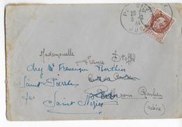 CHANTIERS De JEUNESSE - 1944 - ENVELOPPE Du CAMP N°46 à ST LOTHAIN (JURA) OBLITEREE à POLIGNY => LOIRE - Marcophilie (Lettres)