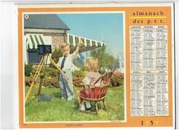Grand Calendrier Almanach P.T.T. Facteur - 1959 - Fillette Garçon Photographe Appareil Photo Dinette Chaton Chat Canard - Calendars