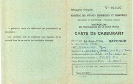Vieux Papiers - Document Historique - Carte De Carburant De1957 - Documenti Storici